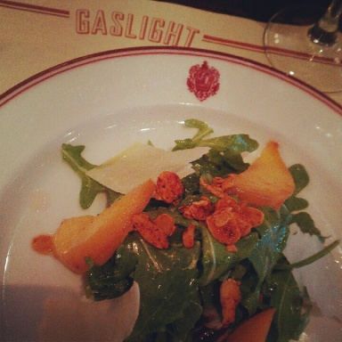 Peach and arugula salad, Gaslight Brasserie du Coin